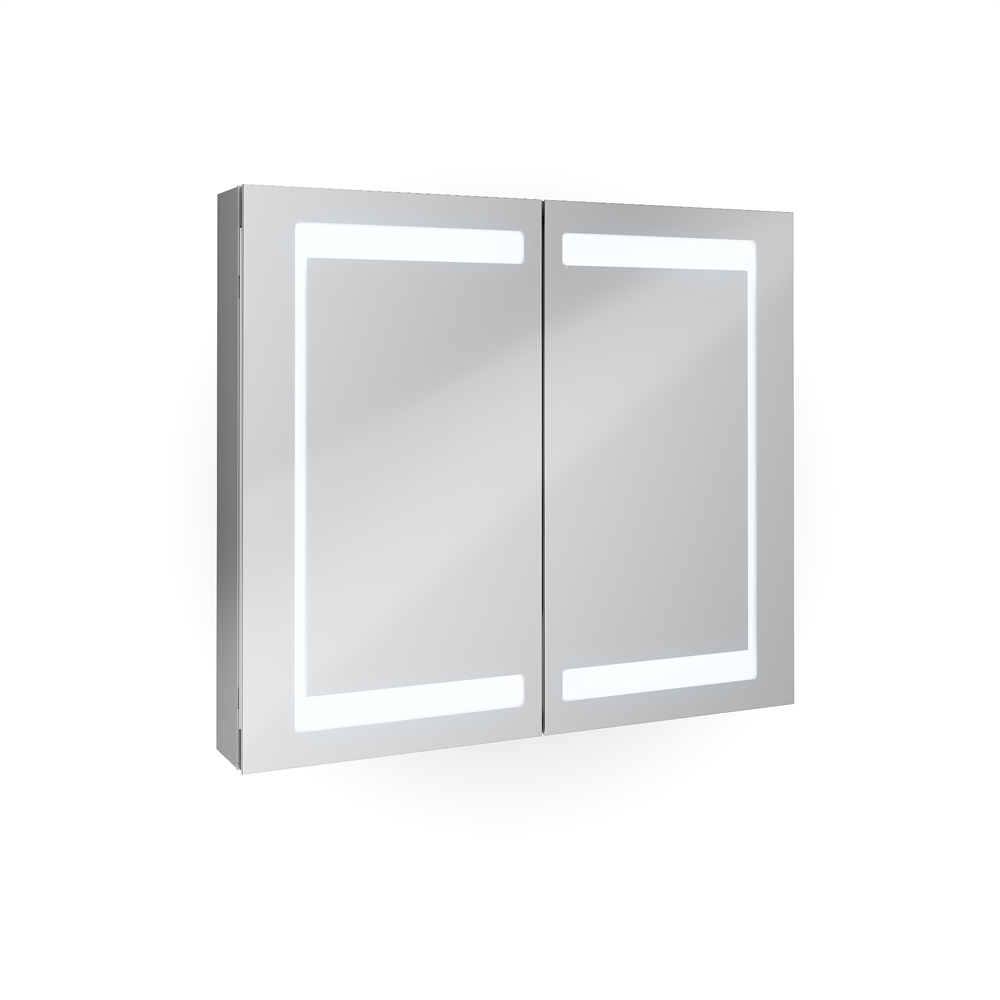 Bathroom mirror cabinet bathroom cabinet led mirror 80 cm for Bathroom cabinets led
