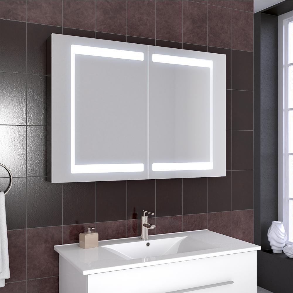 Salle de bains armoire à glace armoire de toilette LED miroir 100cm