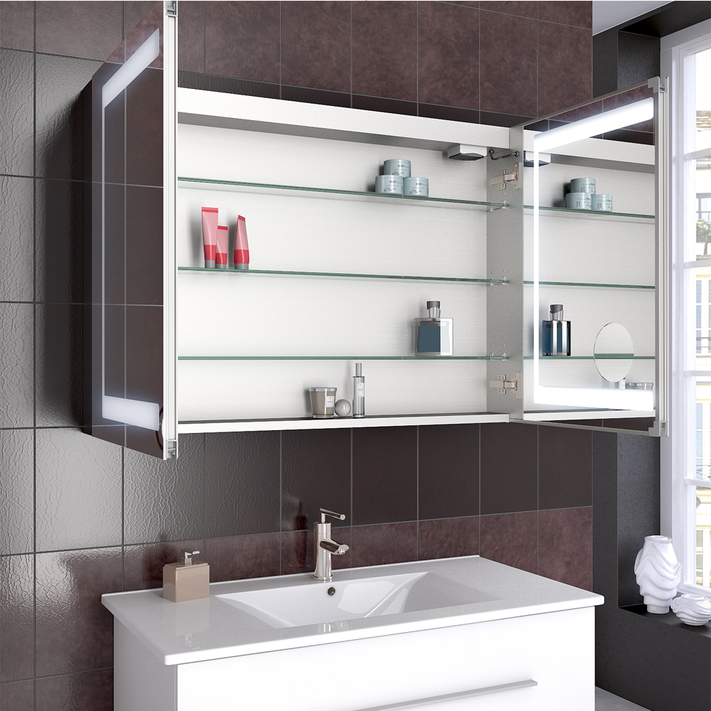 salle de bains armoire glace armoire de toilette led miroir 100cm ebay. Black Bedroom Furniture Sets. Home Design Ideas