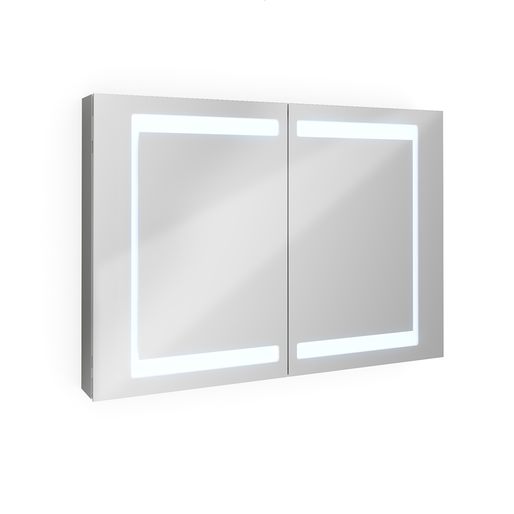 Bathroom mirror cabinet bathroom cabinet led mirror 100 cm for Bathroom cabinets led
