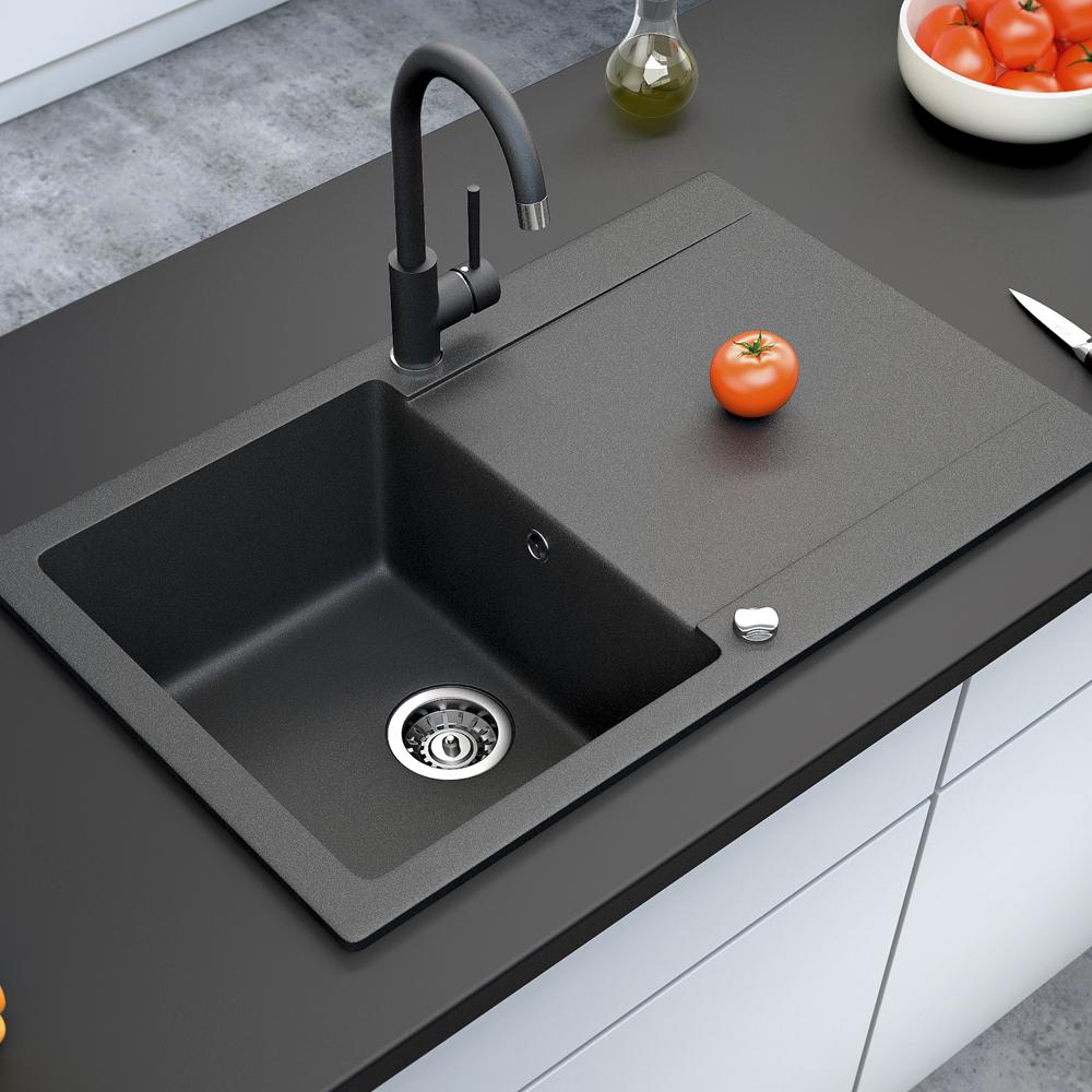 bergstroem vier de cuisine en granit encastr r versible 780x495 noir ebay. Black Bedroom Furniture Sets. Home Design Ideas