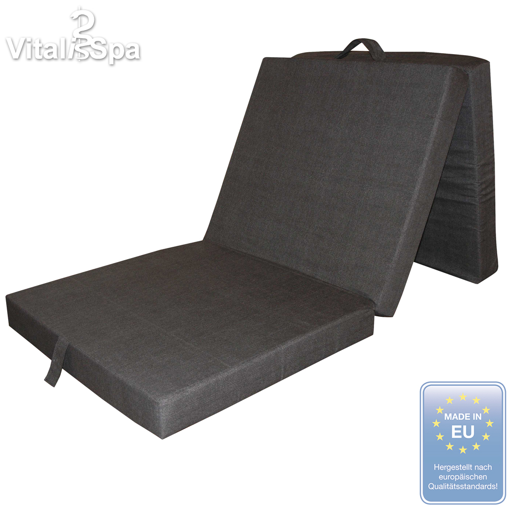 vitalispa matelas pliable pliant lit d 39 invit couchette lit de voyage anthracite ebay. Black Bedroom Furniture Sets. Home Design Ideas