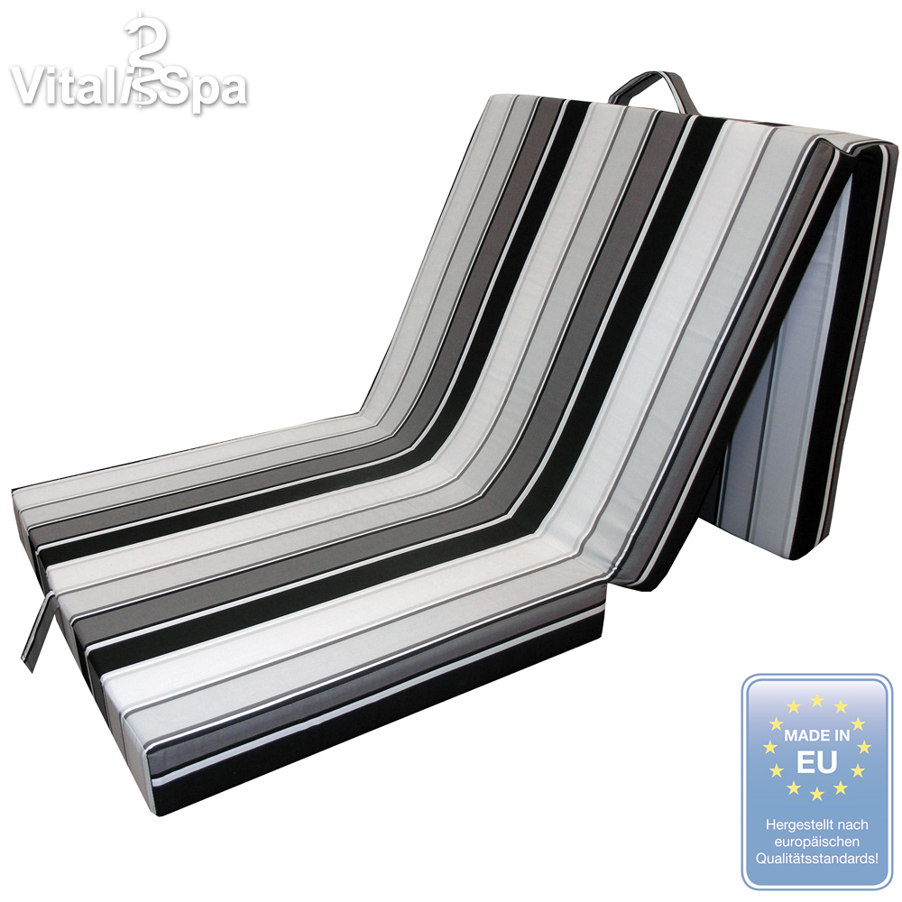 vitalispa matelas pliable pliant lit d 39 invit couchette lit de voyage noir blanc ebay. Black Bedroom Furniture Sets. Home Design Ideas