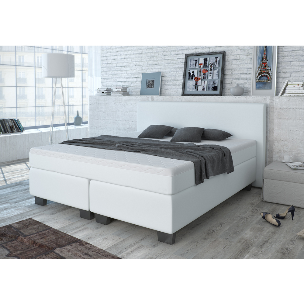 design lit avec sommier lit lit d 39 h tel grand lit lit double blanc 180x200 cm. Black Bedroom Furniture Sets. Home Design Ideas