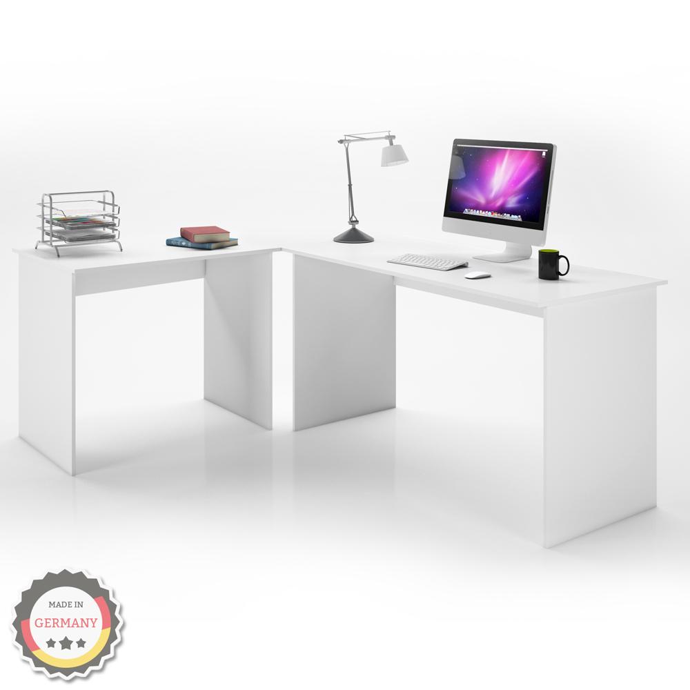 Mesa escritorio ngulo oficina pupitre ordenador pc blanco for Escritorio moderno blanco
