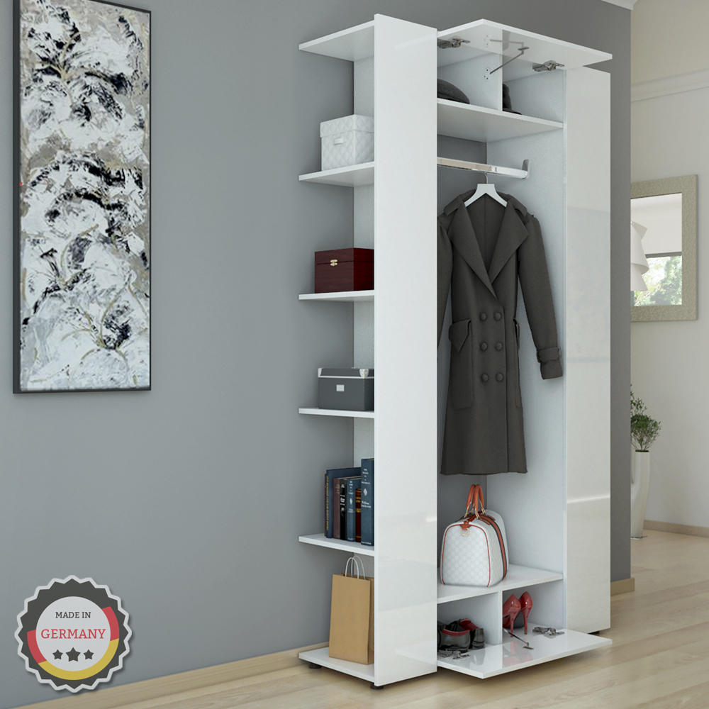 vestiaire armoire d 39 entr e murale tag re chaussures panneau vestibule blanc ebay. Black Bedroom Furniture Sets. Home Design Ideas