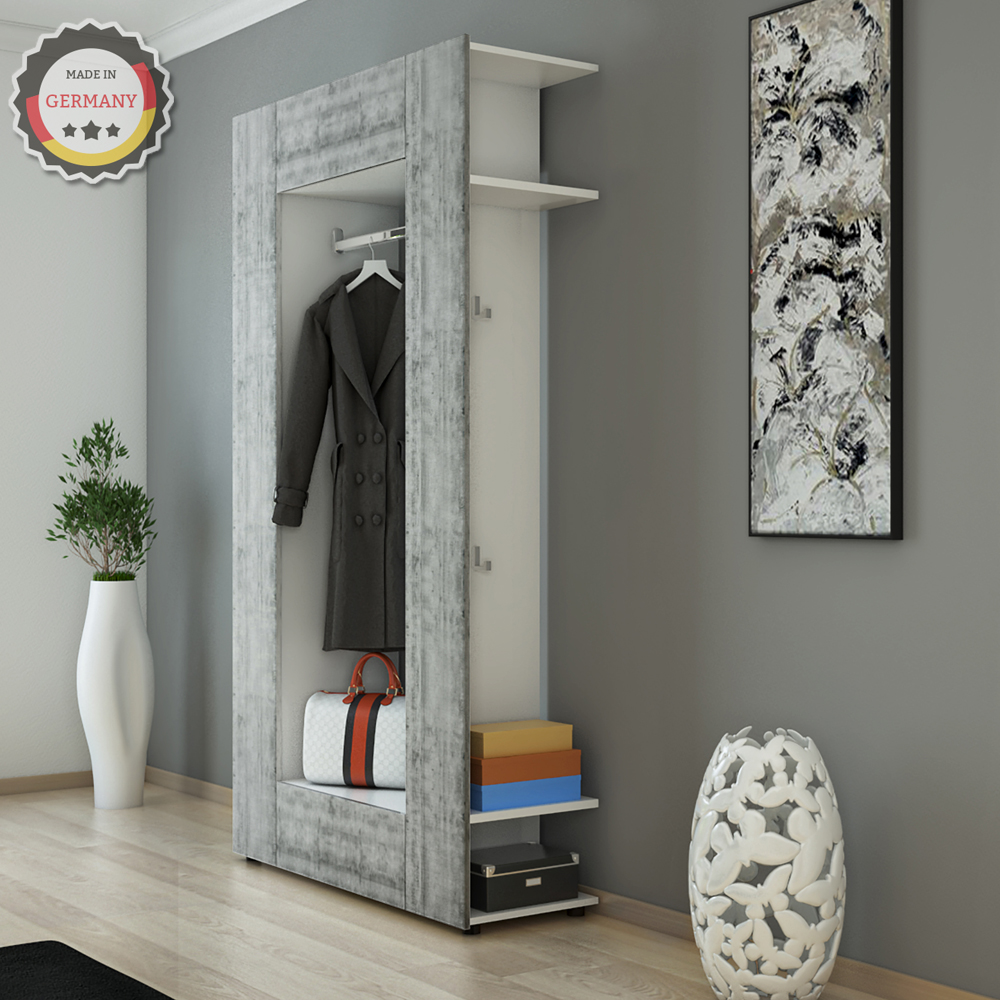 vestiaire armoire d 39 entr e murale tag re chaussures vestibule blanc b ton ebay. Black Bedroom Furniture Sets. Home Design Ideas