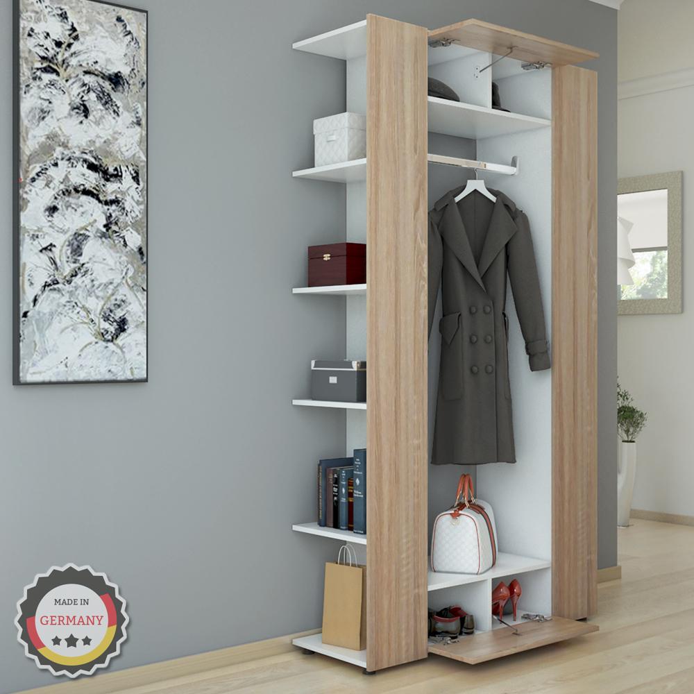 vestiaire armoire d 39 entr e murale tag re chaussures vestibule blanc sonoma ebay. Black Bedroom Furniture Sets. Home Design Ideas