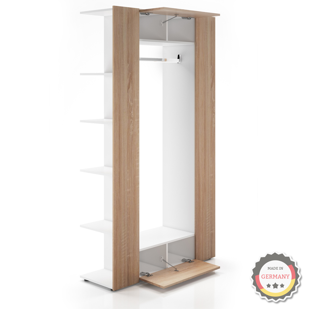 vestiaire armoire d 39 entr e murale tag re chaussures vestibule blanc sonoma ebay. Black Bedroom Furniture Sets. Home Design Ideas