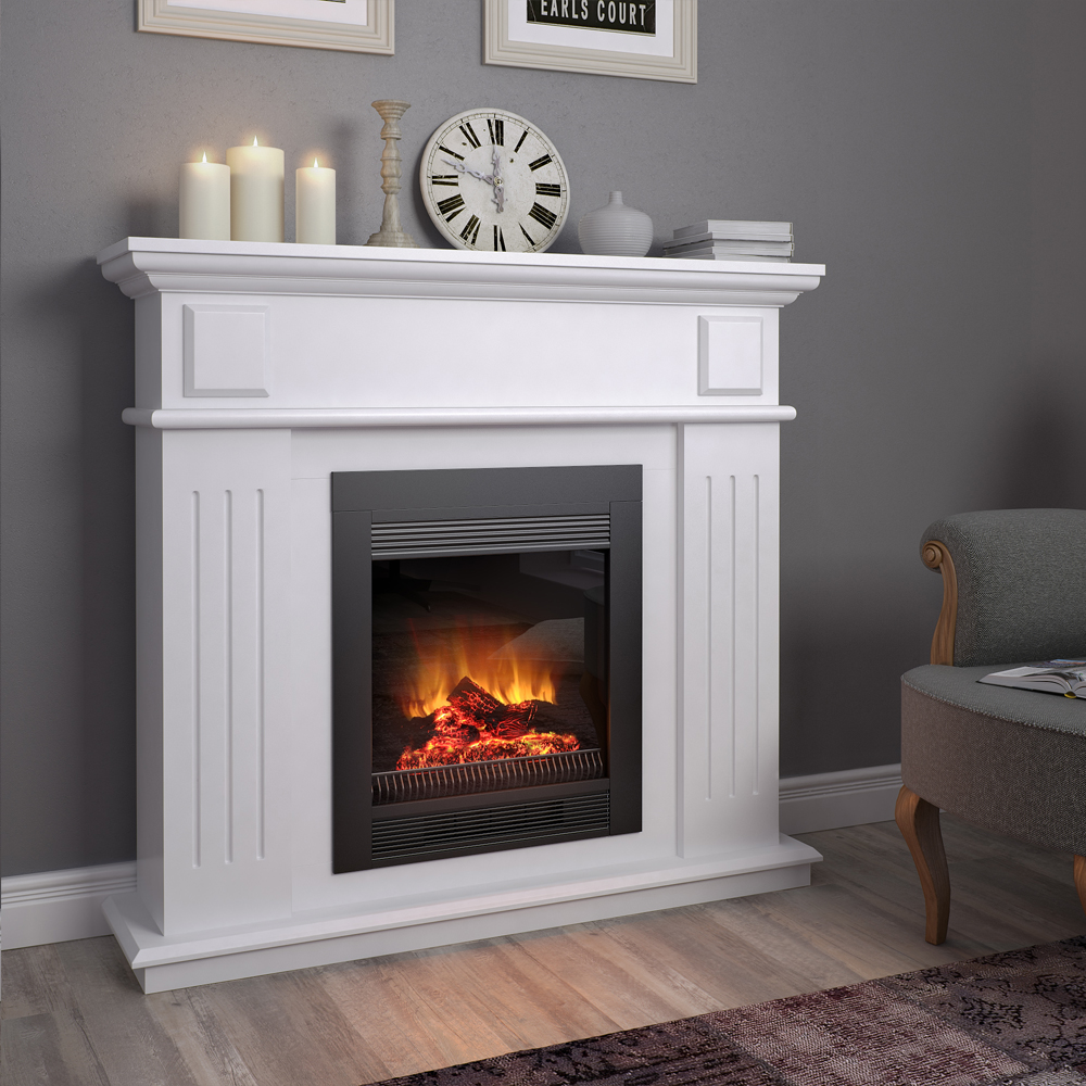 Mantelpiece cottage console for electric fireplaces - Muebles de chimenea ...