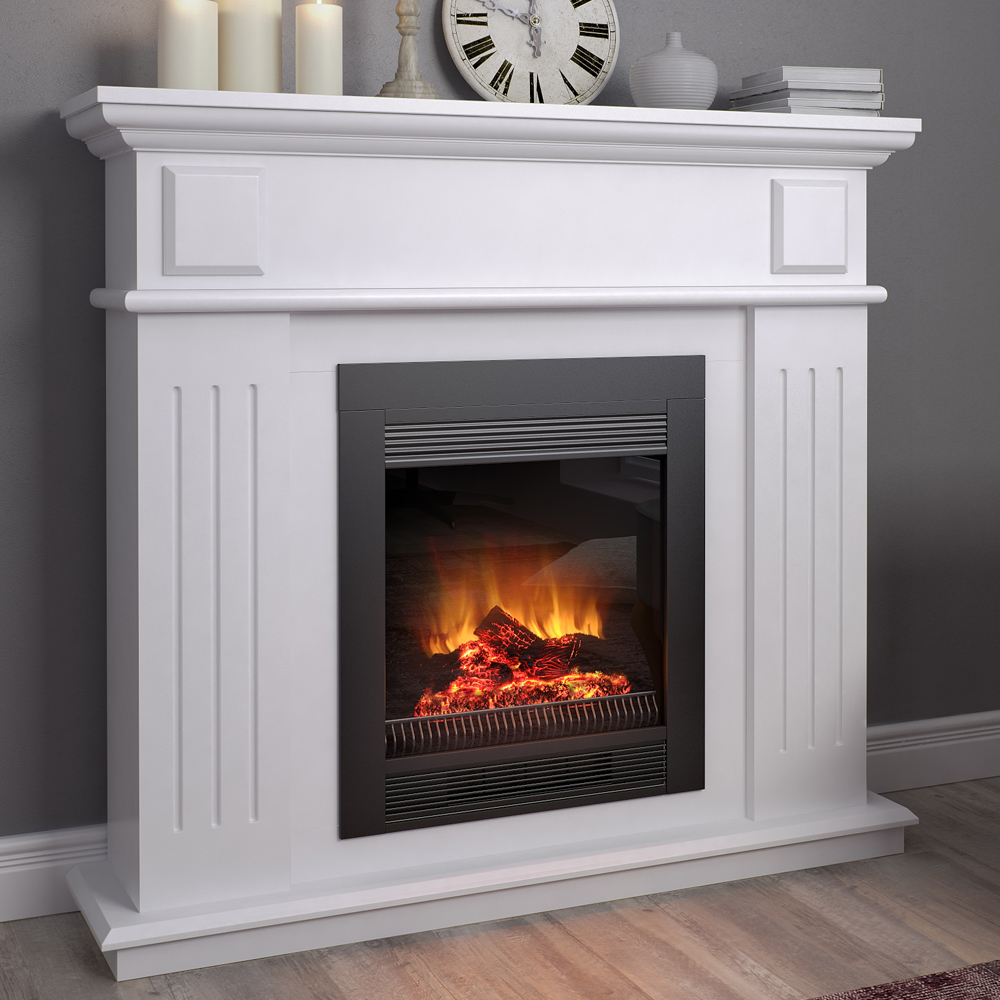 mantelpiece cottage console for electric fireplaces. Black Bedroom Furniture Sets. Home Design Ideas