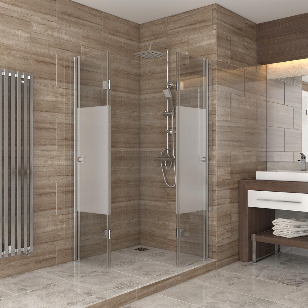 Ducha cabina de ducha puerta plegable de vidrio mampara de for Mamparas de ducha 80x80