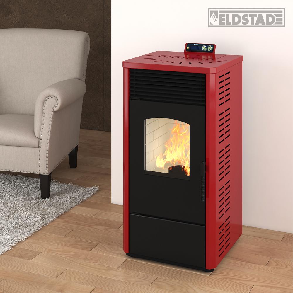 eldstad pellet stufa 10 9 kw a pellet riscaldamento stufa stufa forno rosso ebay. Black Bedroom Furniture Sets. Home Design Ideas