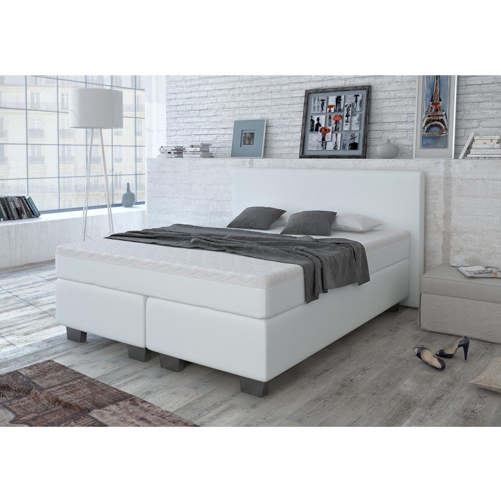 design lit avec sommier lit lit d 39 h tel grand lit lit double blanc 160x200 cm ebay. Black Bedroom Furniture Sets. Home Design Ideas