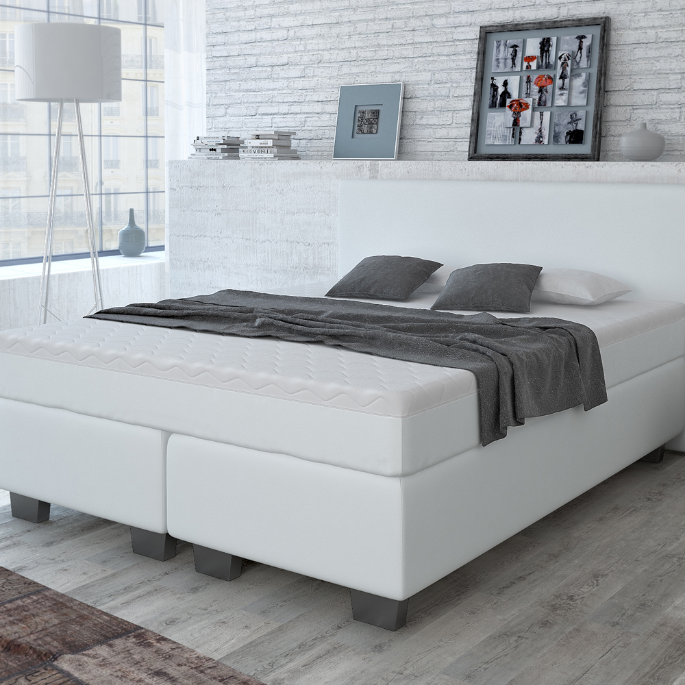 design lit avec sommier lit lit d 39 h tel grand lit lit double blanc 160x200 cm ebay. Black Bedroom Furniture Sets. Home Design Ideas
