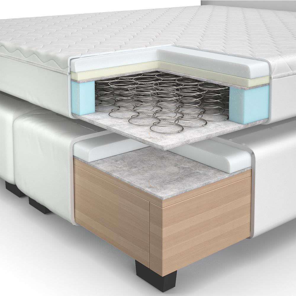 design lit avec sommier lit lit d 39 h tel grand lit lit double blanc 160x200 cm. Black Bedroom Furniture Sets. Home Design Ideas