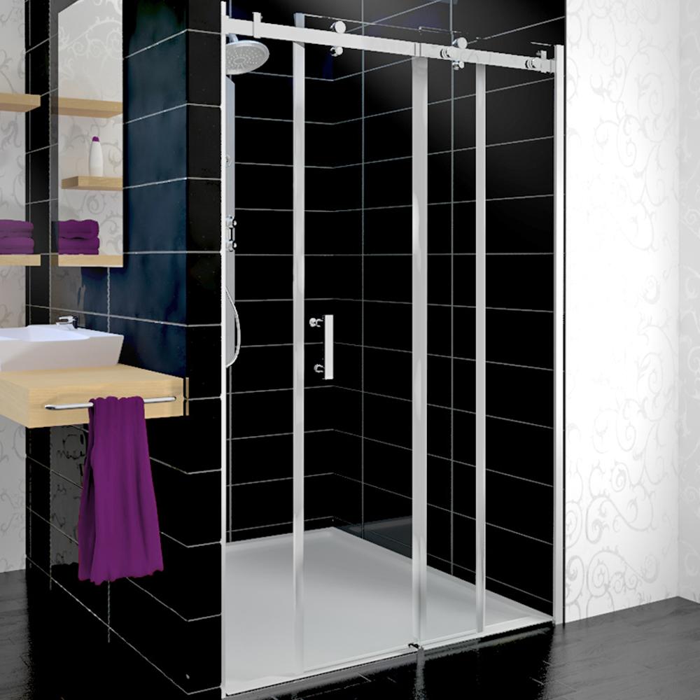 s paration de la douche en alc ve de la cabine porte de coulissante 150x95cm ebay. Black Bedroom Furniture Sets. Home Design Ideas