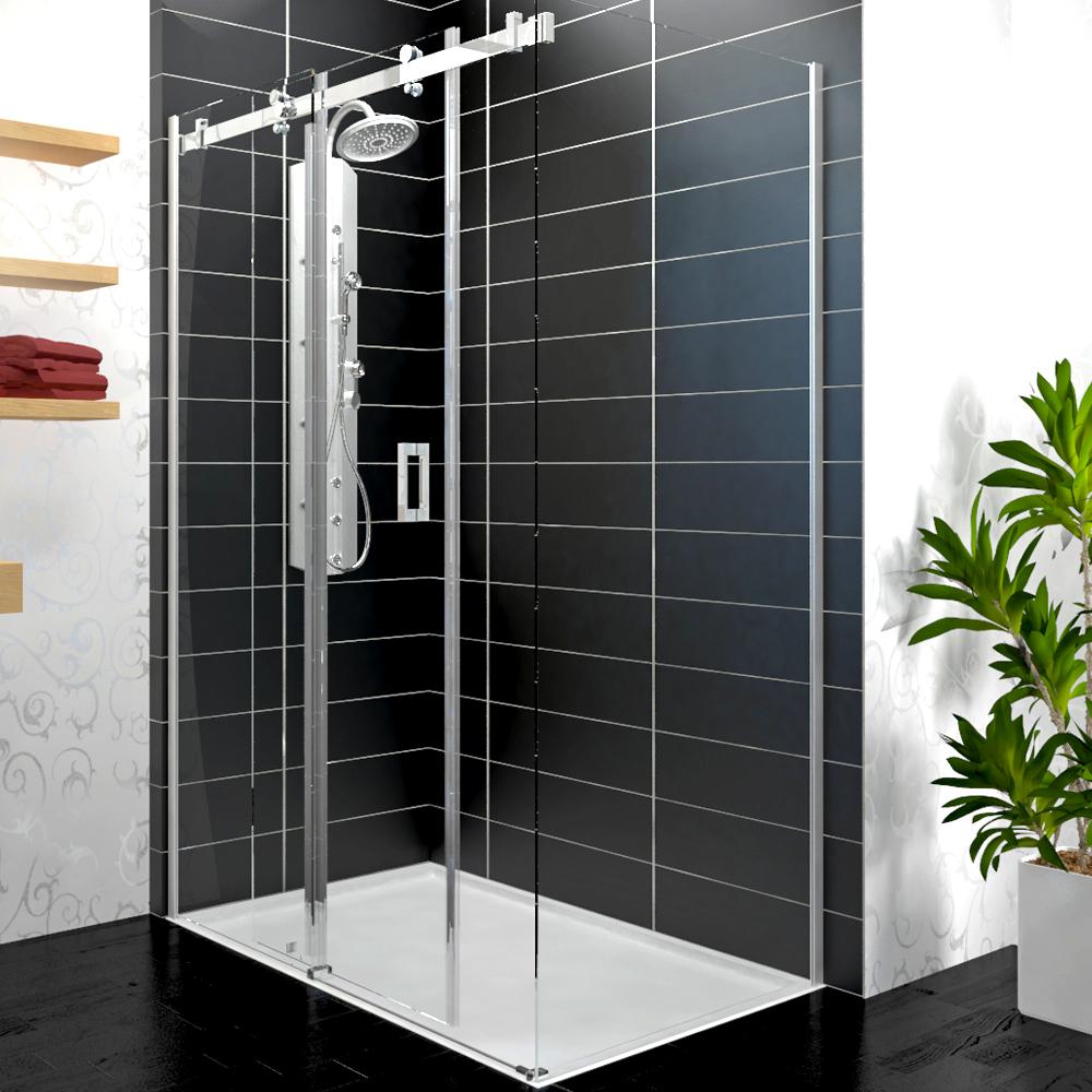 douche cabine de douche d 39 angle porte coulissante cloison 90x120 8mm nano ebay. Black Bedroom Furniture Sets. Home Design Ideas