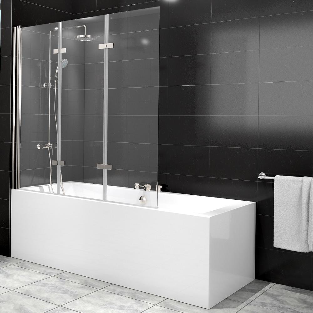 Cabine de douche baignoire paroi verre douche 3 aile nano ebay - Paroi verre baignoire ...
