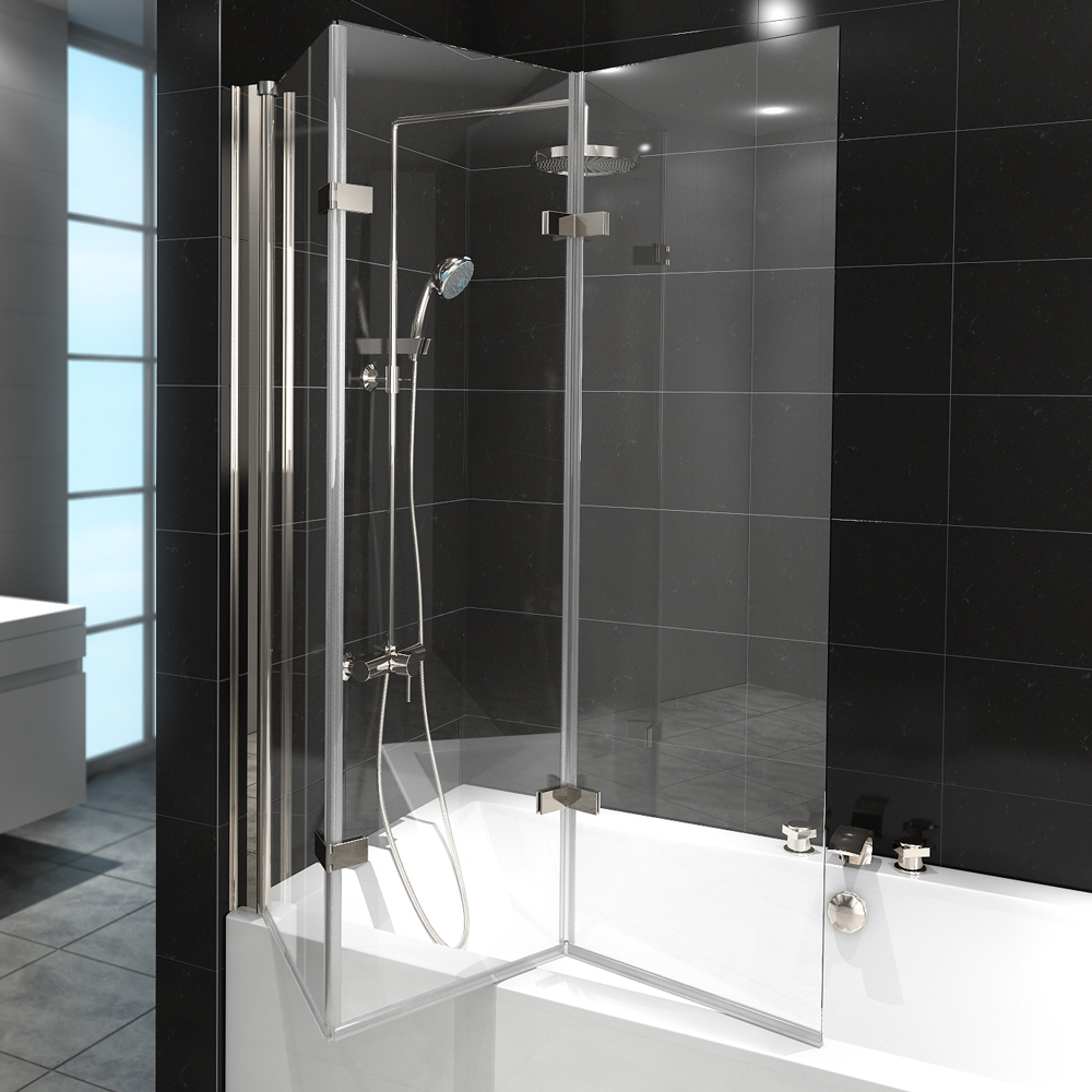 shower enclosure bathtub folding shower screen glass 3 pivoting parts nano ebay. Black Bedroom Furniture Sets. Home Design Ideas