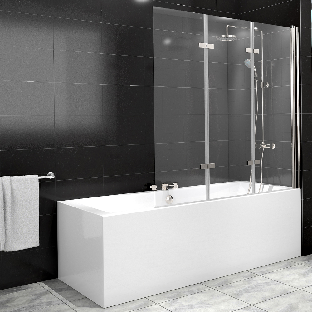 Cabine de douche baignoire paroi verre douche 3 aile nano droite ebay - Paroi verre baignoire ...