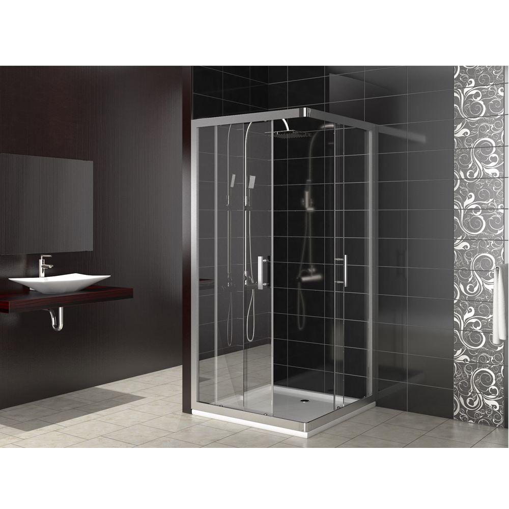 cabine de douche porte coulissante en coin vitre de. Black Bedroom Furniture Sets. Home Design Ideas