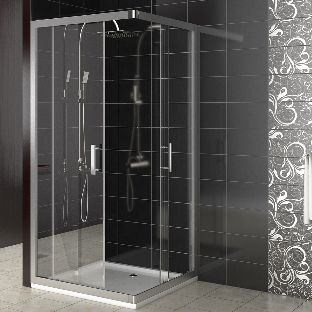 cabine de douche porte coulissante en coin vitre de s paration 90x90 ebay. Black Bedroom Furniture Sets. Home Design Ideas