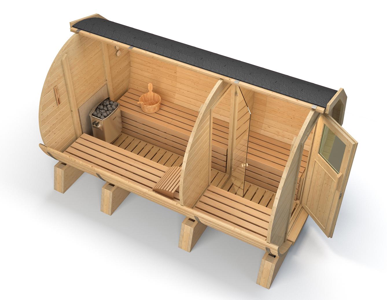 ISIDOR Sauna a botte M3 Premium 3.60m sauna esterna sauna da giardino  eBay