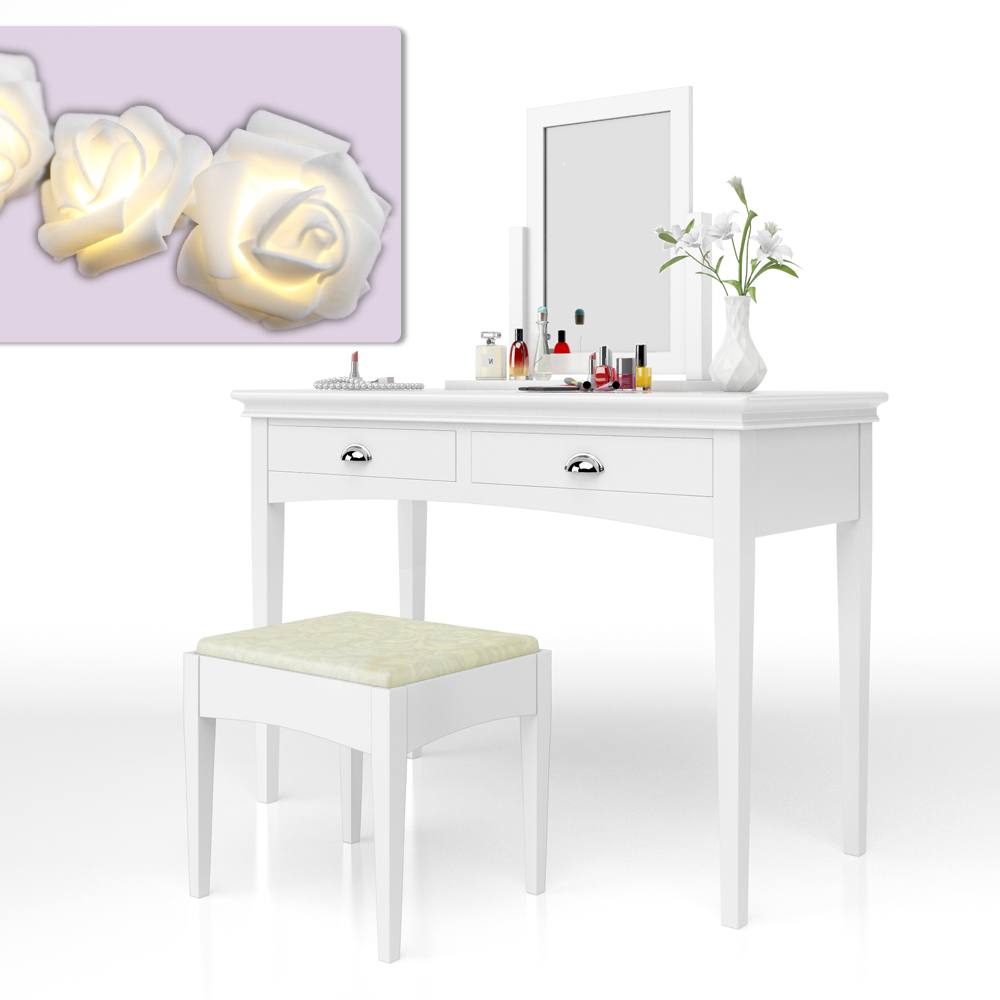 coiffeuse coiffeuse tabouret coiffeuse coiffeuse miroir belleford ebay. Black Bedroom Furniture Sets. Home Design Ideas