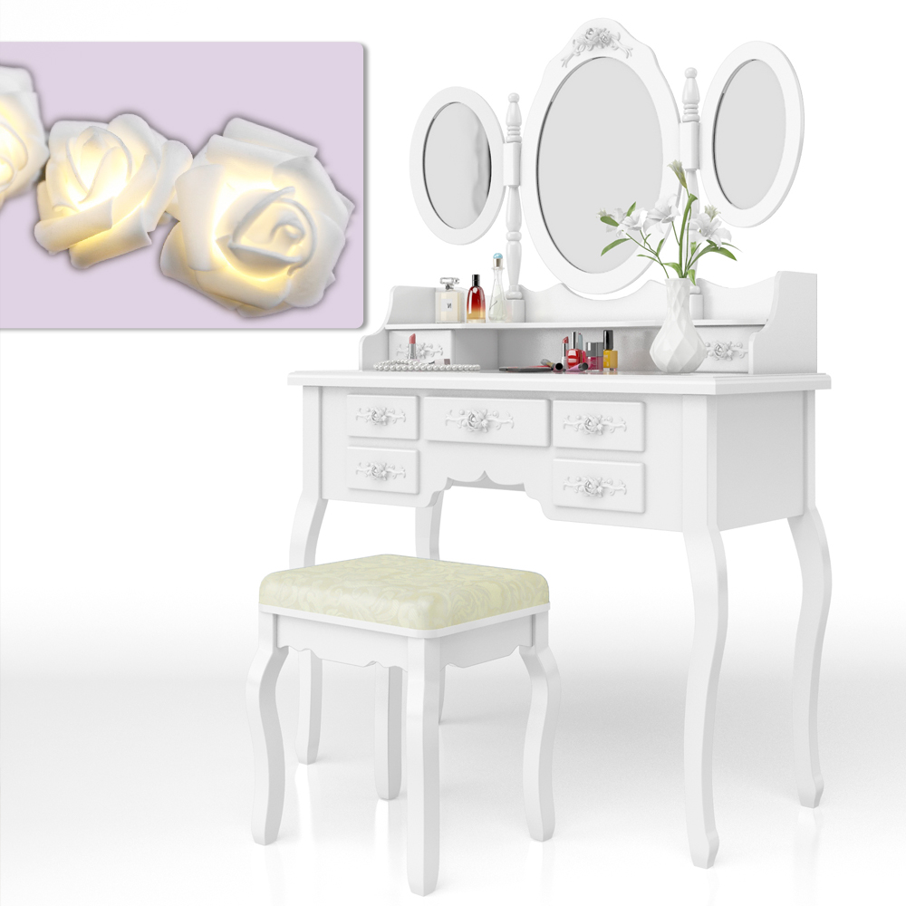 coiffeuse tabouret coiffeuse coiffeuse coiffeuse miroir rose s rie queen rose ebay. Black Bedroom Furniture Sets. Home Design Ideas