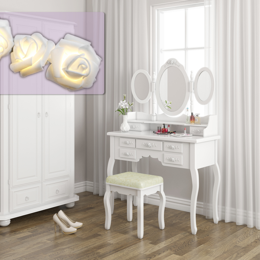 table stool makeup table storage mirror bedroom vanity rose series