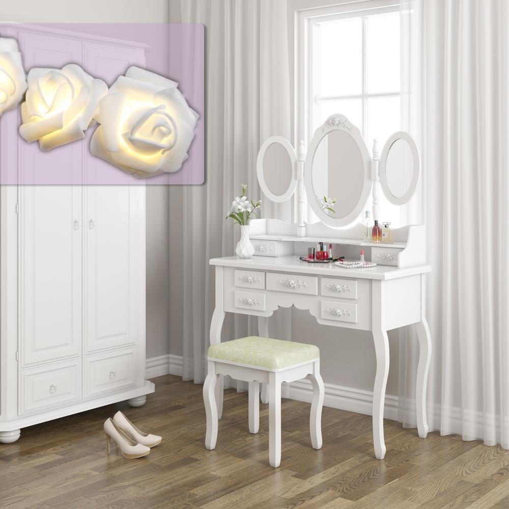 dressing table stool makeup table storage mirror bedroom