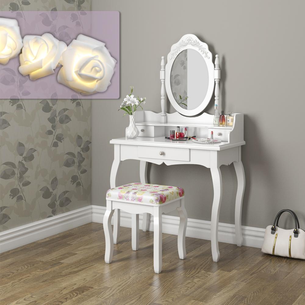 Toilette trucco sgabello tavolo trucco toletta specchio serie pearl rose ebay - Mobile toilette trucco ...
