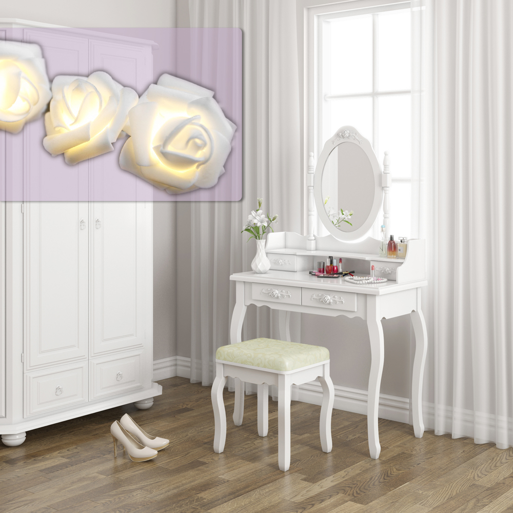 dressing table stool makeup table storage mirror bedroom