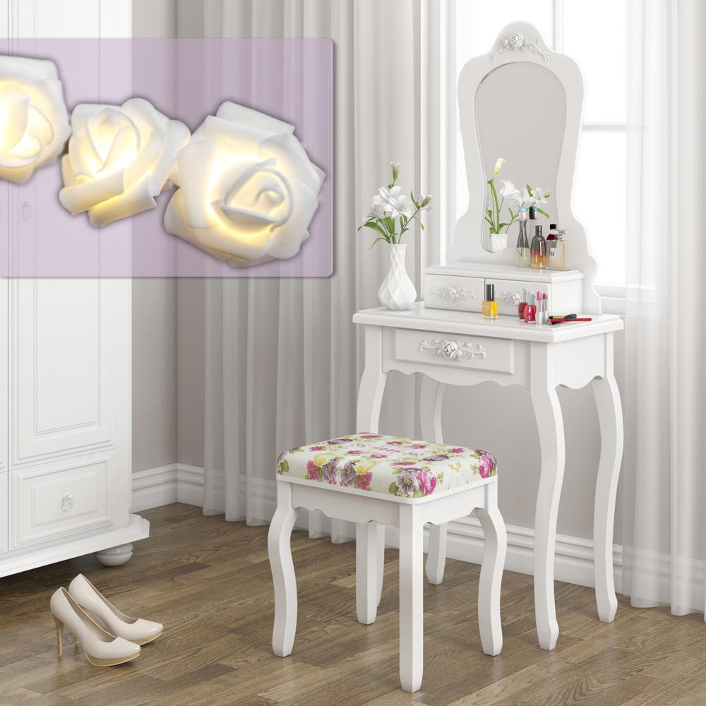 Princesa blanca tocador vestidor taburete mesa tocador - Espejos de tocador con luz ...