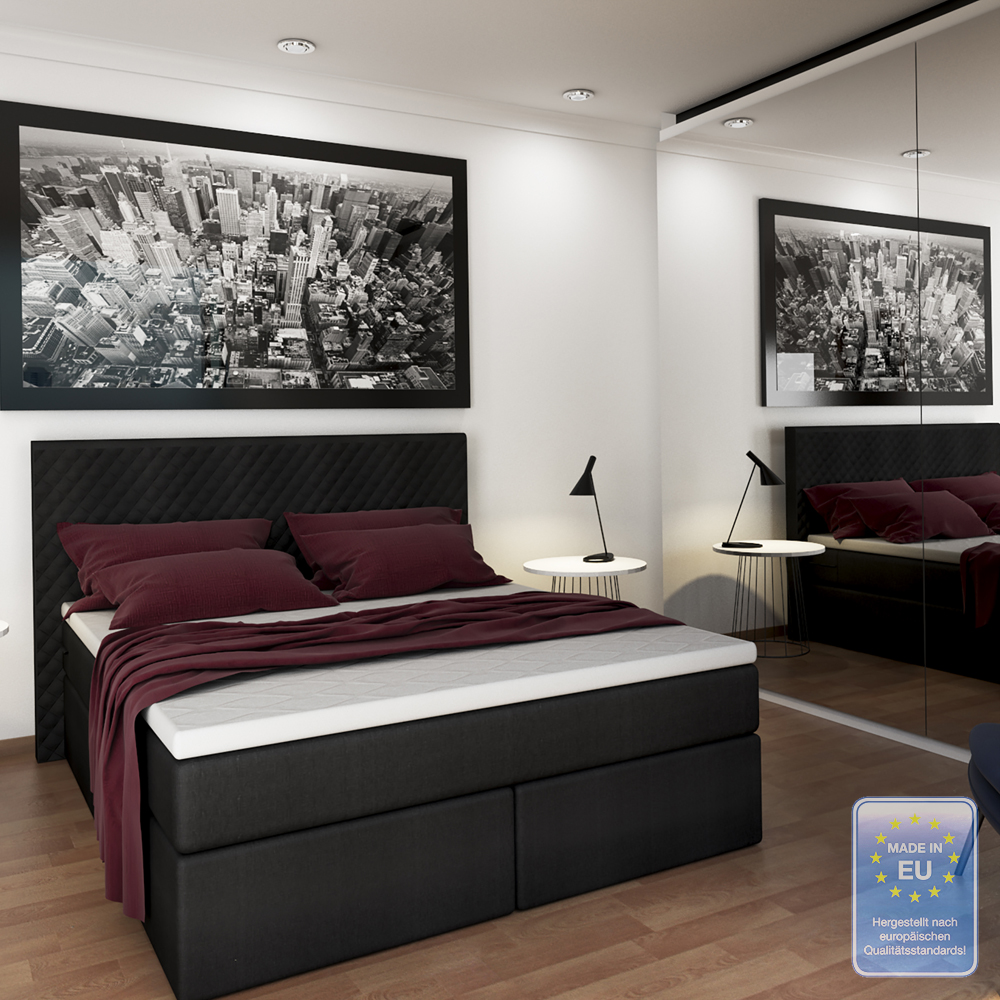 letto matrimoniale boxspring design letto imbottito incl topper strato 140x200 ebay. Black Bedroom Furniture Sets. Home Design Ideas