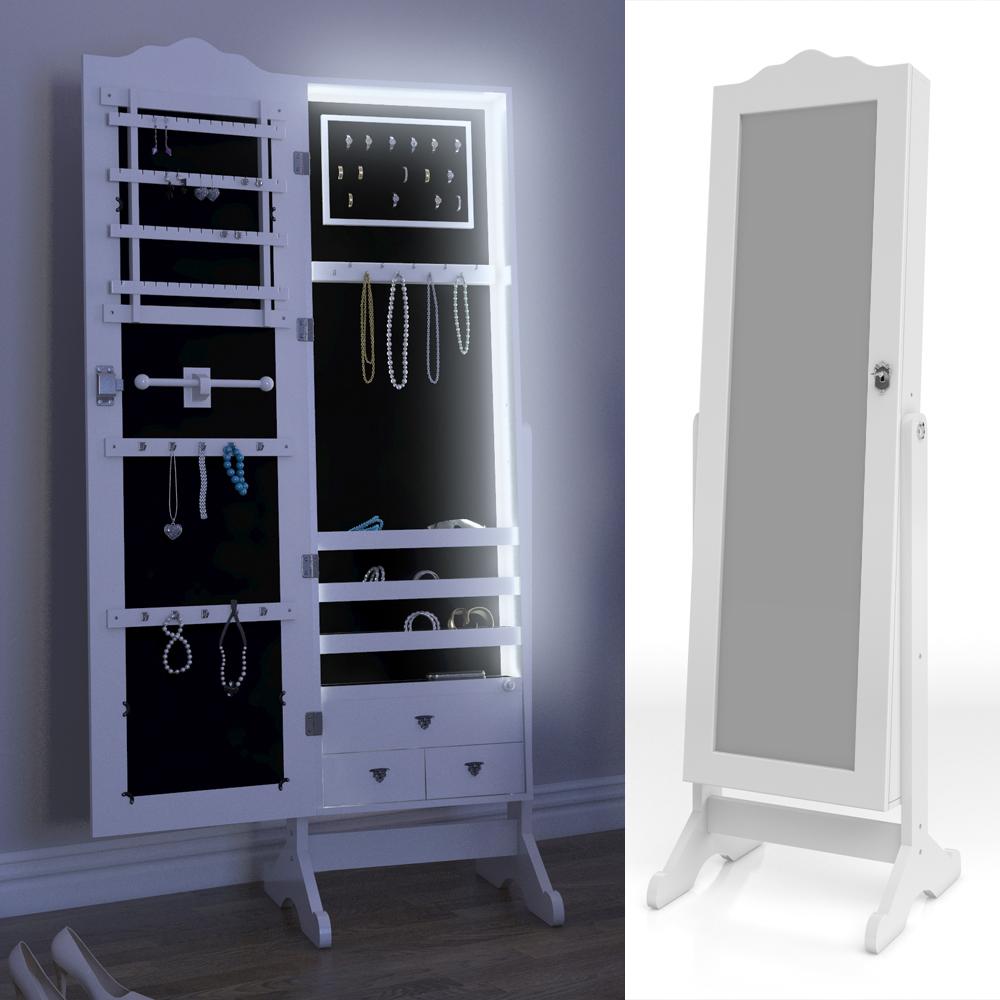 Armario con espejo armario joyero de pared armario blanco for Espejo joyero casa