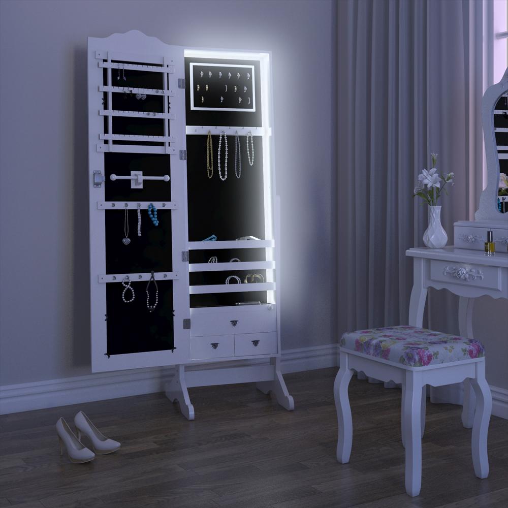 Armario con espejo armario joyero de pared armario blanco - Iluminacion interior armarios ...