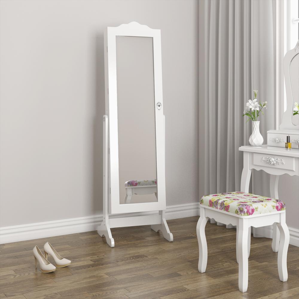 Armoire glace armoire bijoux miroir blanc led ebay for Force de miroir ebay