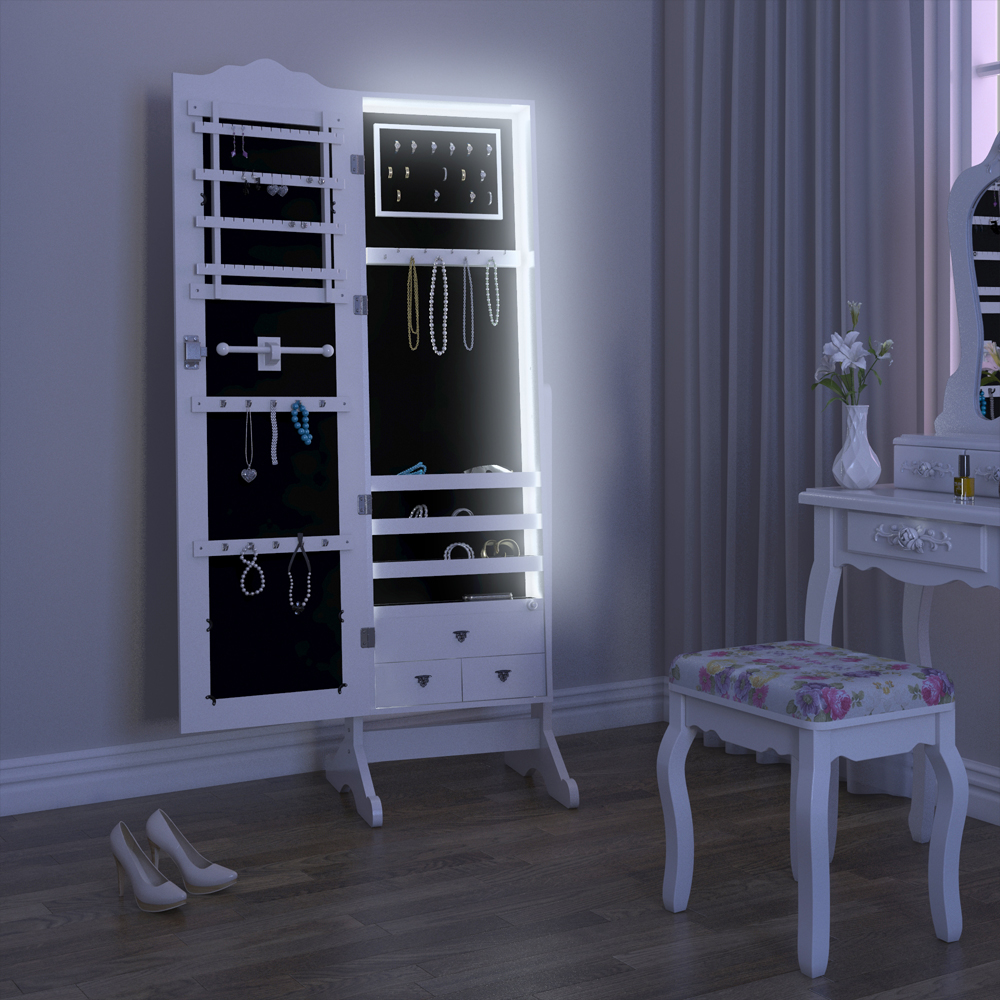armoire glace armoire bijoux miroir blanc led ebay. Black Bedroom Furniture Sets. Home Design Ideas