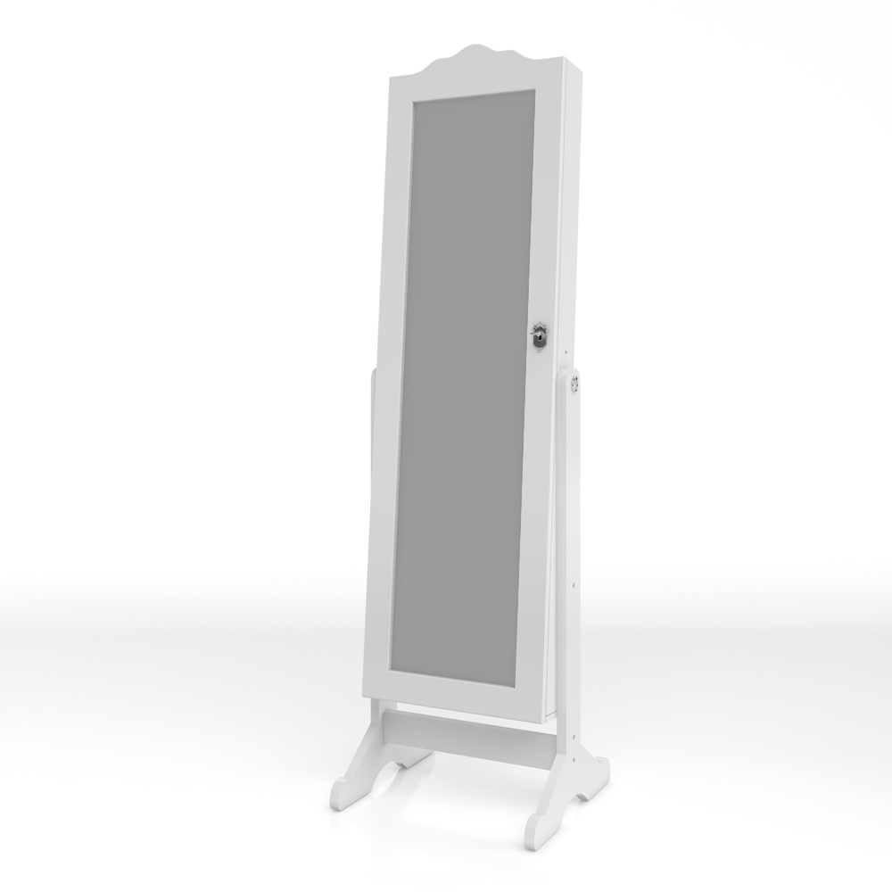 Mirrored cabinet jewellery cabinet standing mirror white for White long standing mirror