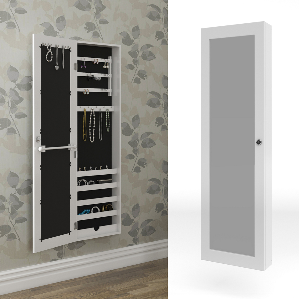 Mirrored cabinet jewellery cabinet wall white wall cabinet for Bedroom wall cabinet with mirror