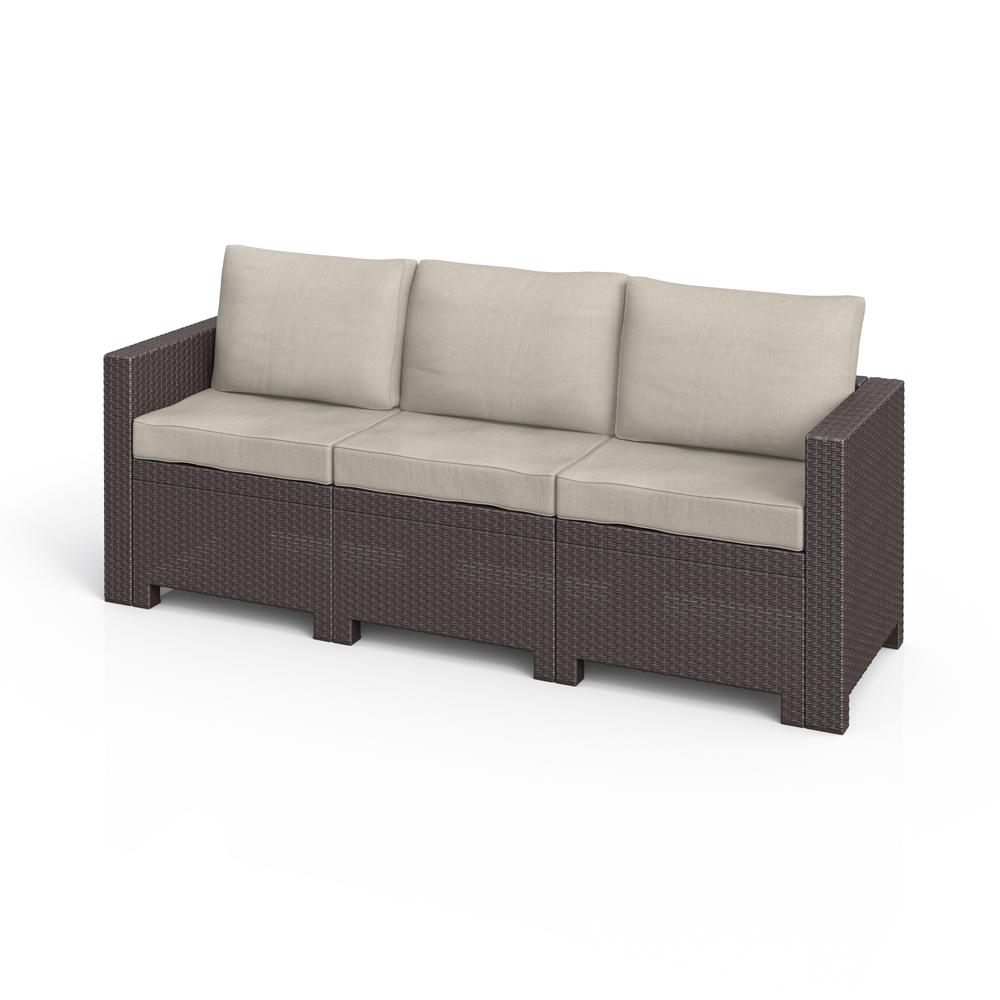 Set mobili da giardino lounge rattan marrone cuscini beige - Mobili da giardino in rattan ...