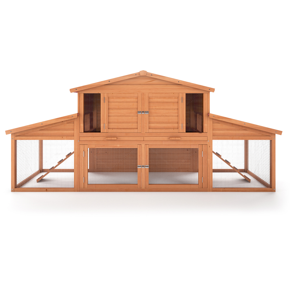 cage pour lapin en bois 2 tages xxl 230x100x73 nouveau. Black Bedroom Furniture Sets. Home Design Ideas