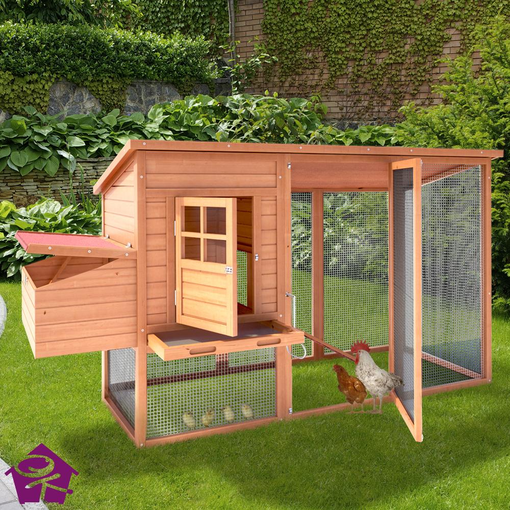 Chicken coop poultry hen house ark rabbit hutch 200x76x96 for Chicken coop for 2 chickens