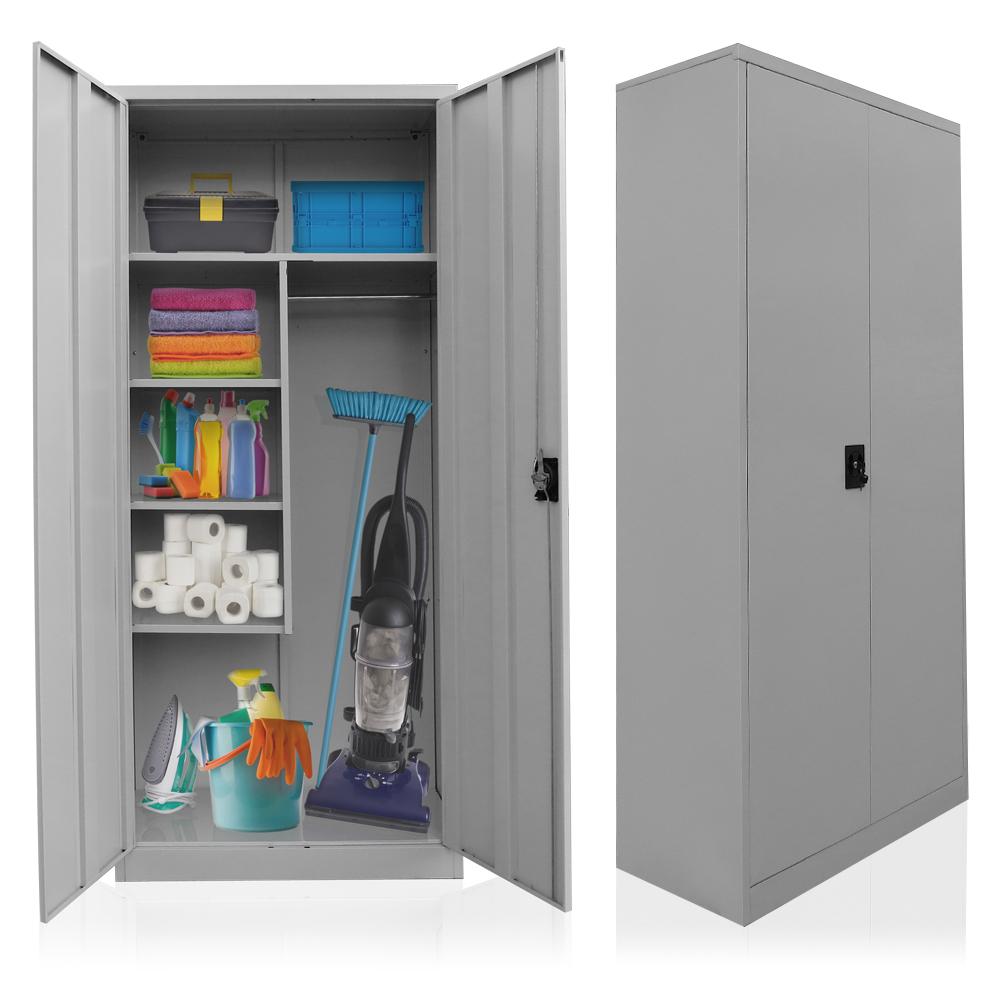 placard pour produits de nettoyage acier balai armoire casier armoire linge a ebay. Black Bedroom Furniture Sets. Home Design Ideas