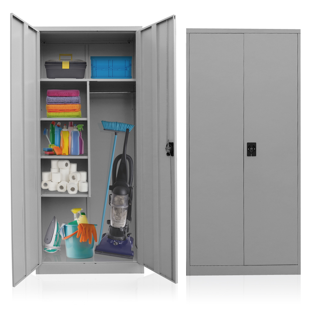 Cleaning supplies cabinet steel broom closet linen for Cupboard cabinet