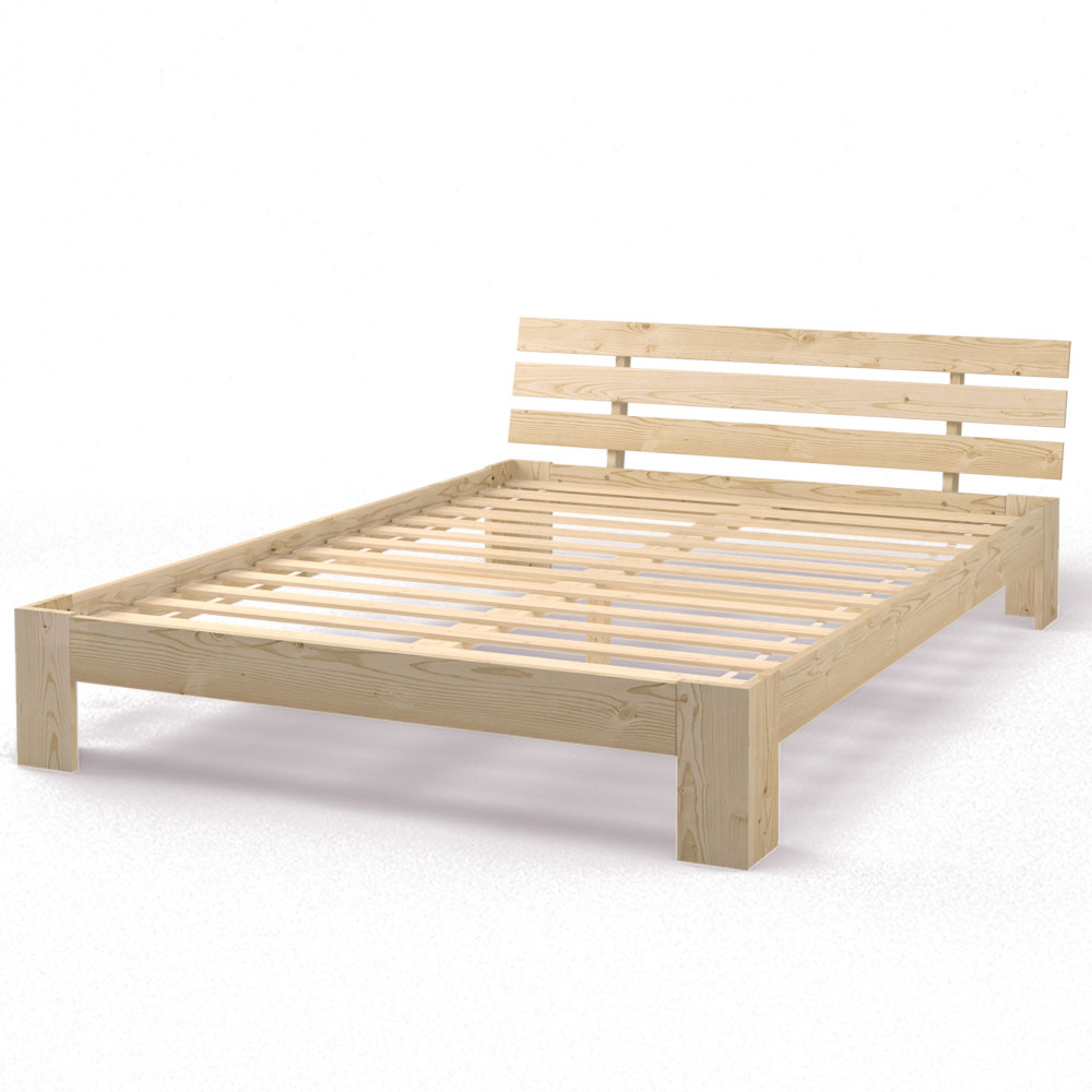 lit double en bois massif 140x200 cm cadre obuste avec sommier lattes nature ebay. Black Bedroom Furniture Sets. Home Design Ideas