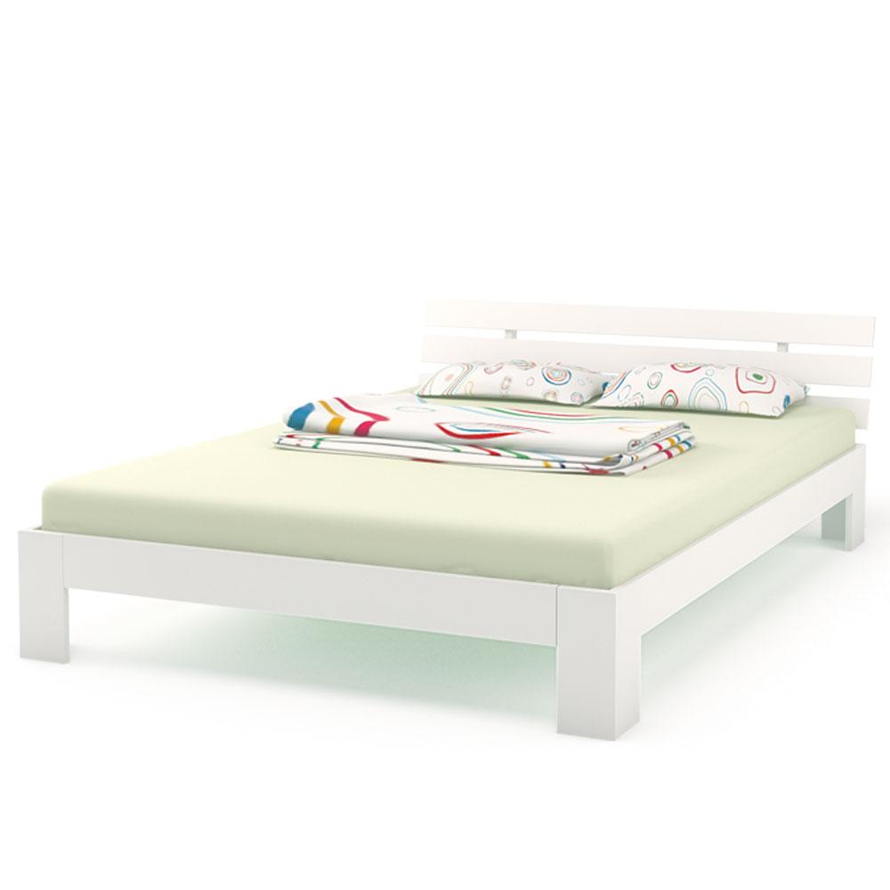 Legno letto matrimoniale 140 x 200 cm telaio del letto a doghe di legno bianco - Telaio del letto ...