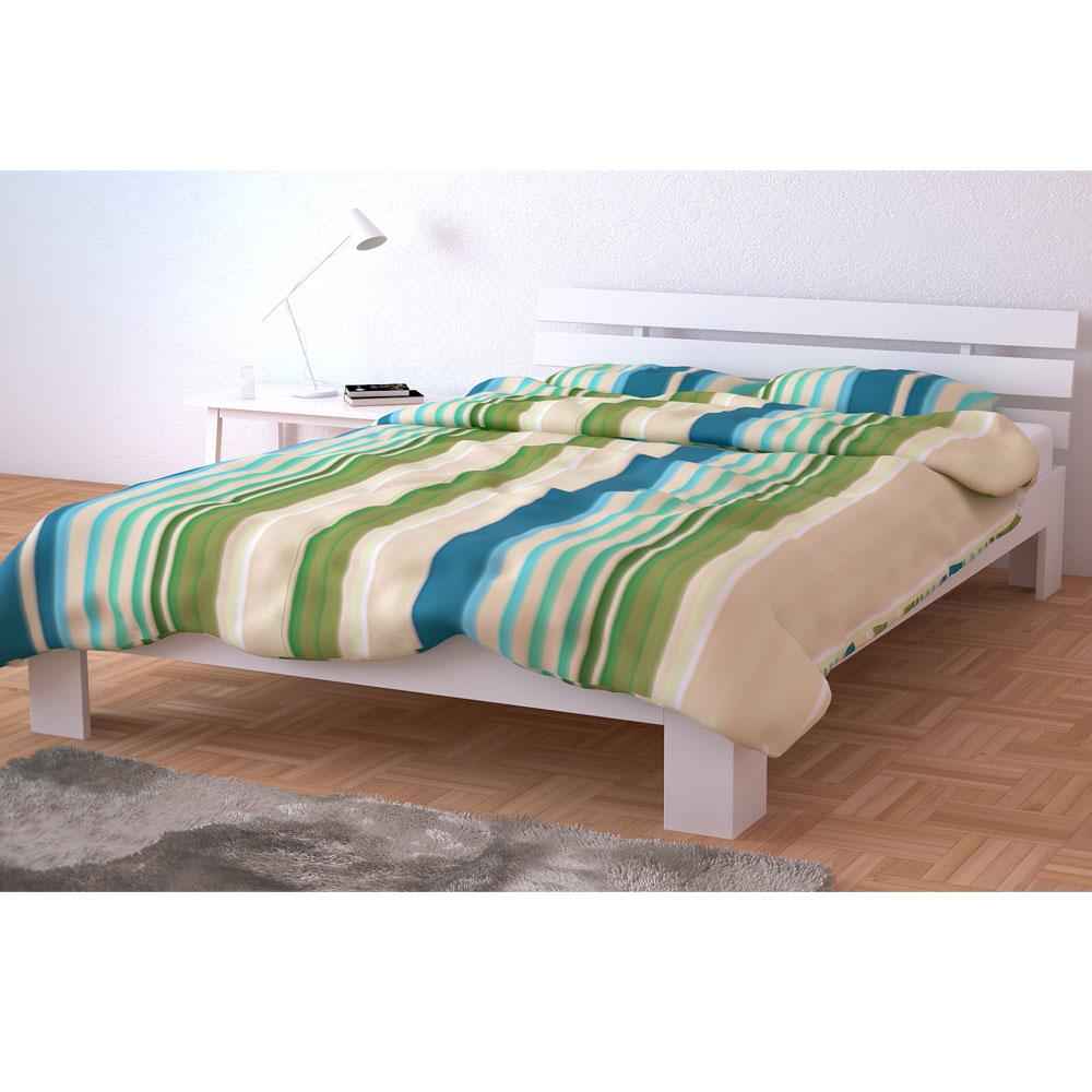 Legno letto matrimoniale 140 x 200 cm telaio del letto a doghe di legno bianco ebay - Telaio del letto ...